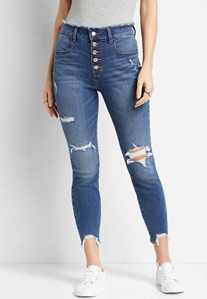 Super High Rise Medium Wash Button Fly Jegging