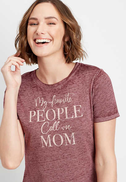 Burgundy My Favorite People Call Me Mom Graphic Tee