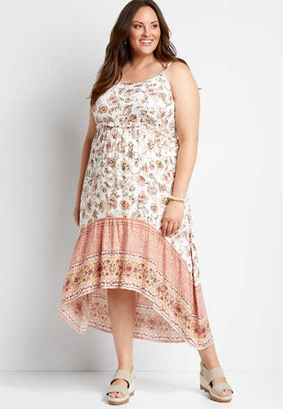 Plus Size White Floral High Low Midi Dress