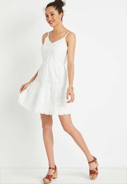 White Eyelet Lace Button Front Mini Dress