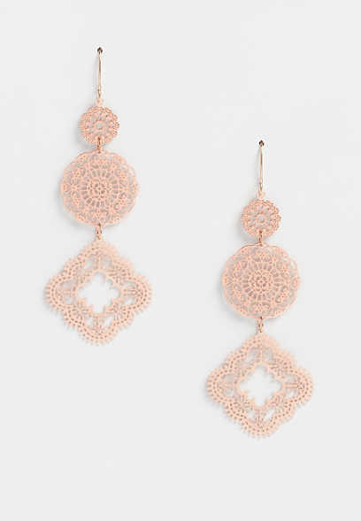 Rose Gold 3 Tier Drop Earrings