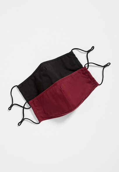 2 Pack Non-Medical Black and Burgundy Face Masks
