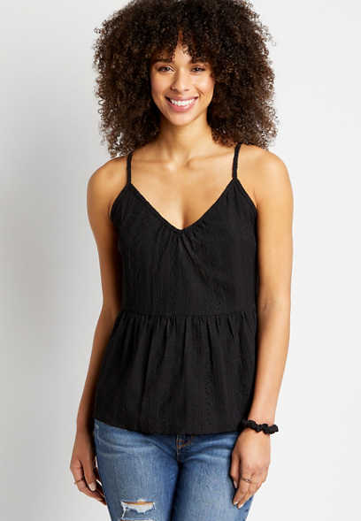 Solid Embroidered Lace Up Back Tank Top