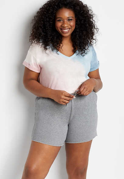 Plus Size Cozy Gray Cut Off 6in Short