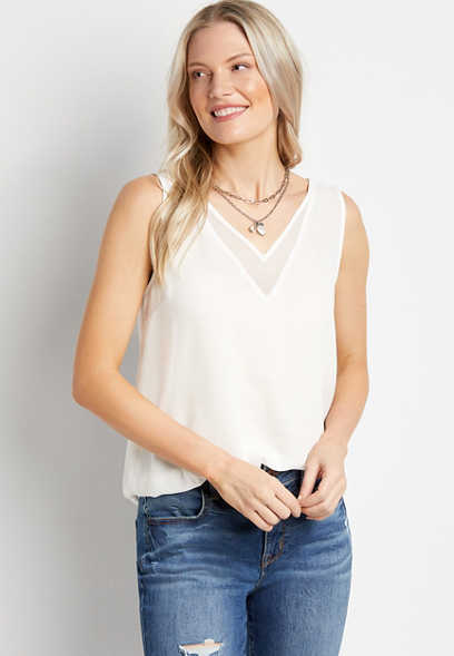 White Sheer V Neck Tank Top