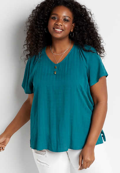 Plus Size Teal Flutter Sleeve Blouse