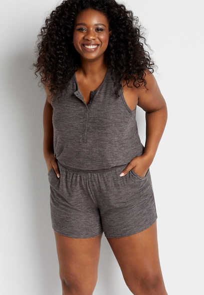 Plus Size Gray Cozy 5in Short