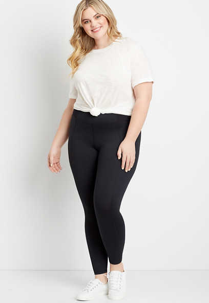Plus Size High Rise Black Ribbed Waist Luxe Legging