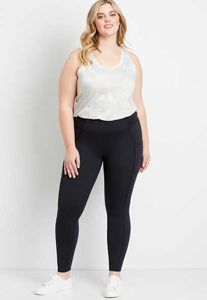 Plus Size High Rise Black Ruched Side Luxe Pocket Legging