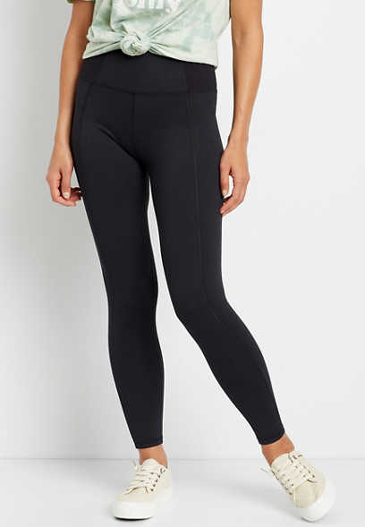 High Rise Black Ribbed Waist Luxe Legging