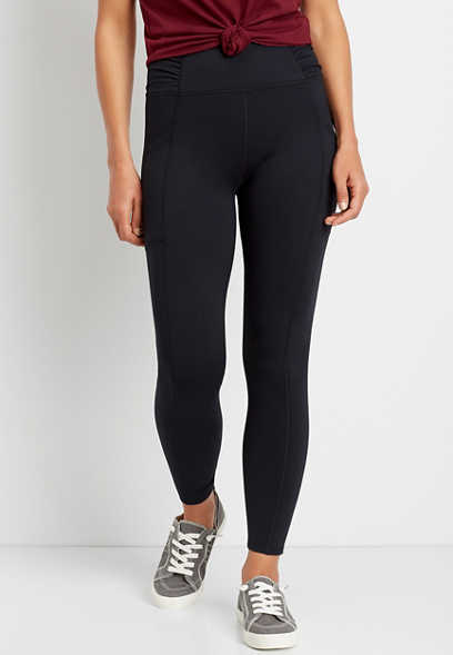 High Rise Black Ruched Side Luxe Pocket Legging