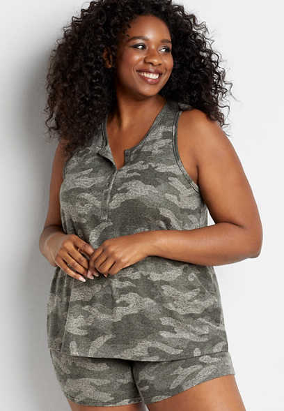 Plus Size 24/7 Camo Henley Tank Top