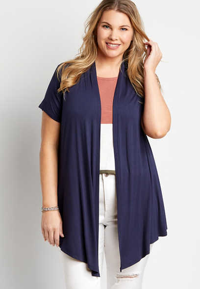 Plus Size Navy Short Sleeve Open Front Cardigan