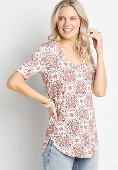 24/7 Flawless Pink Medallion Tunic Tee