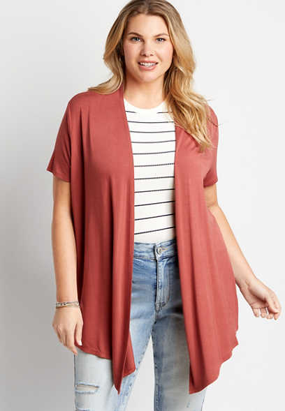 Plus Size Solid Short Sleeve Open Front Cardigan