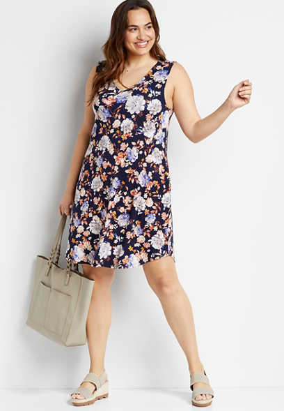 Plus Size 24/7 Blue Floral Shift Dress
