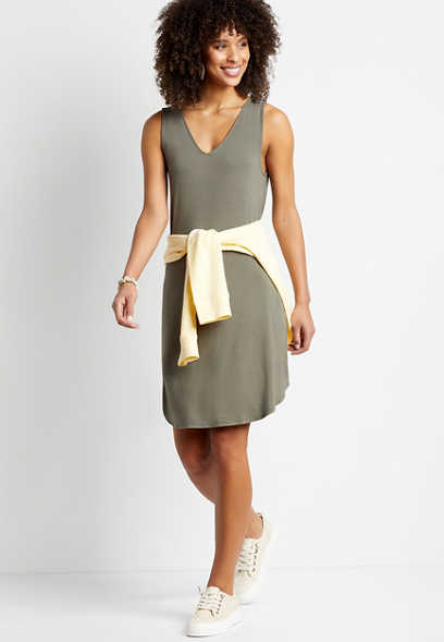 24/7 Olive Double V Neck Shift Dress