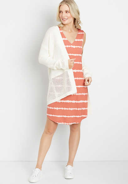 24/7 Peach Striped Tie Dye Shift Dress
