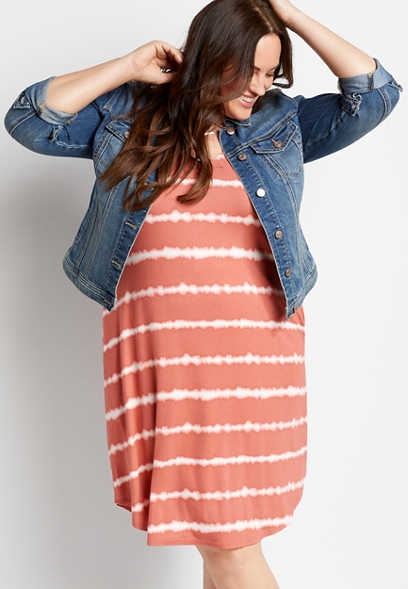 Plus Size 24/7 Peach Striped Tie Dye Shift Dress