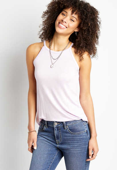 24/7 Solid High Neck Tank Top