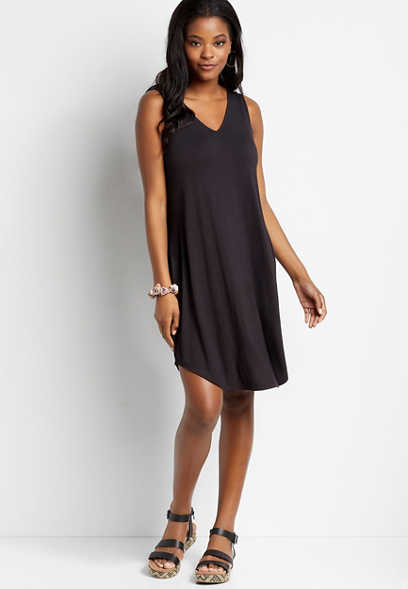 24/7 Black Double V Neck Shift Dress