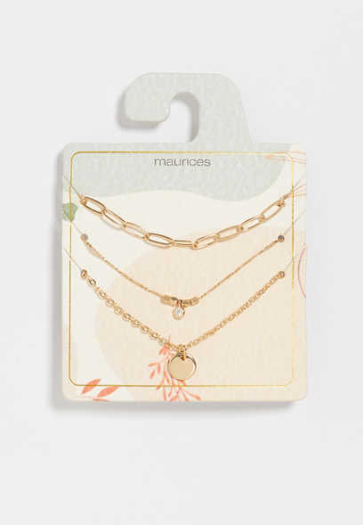 Dainty Gold 3 Piece Necklace Set