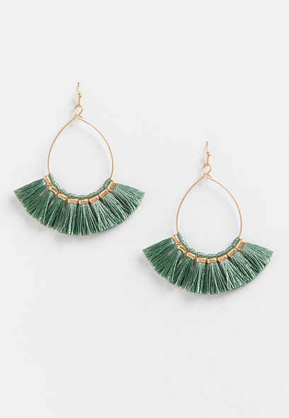 Gold Mint Fringe Teardrop Earrings