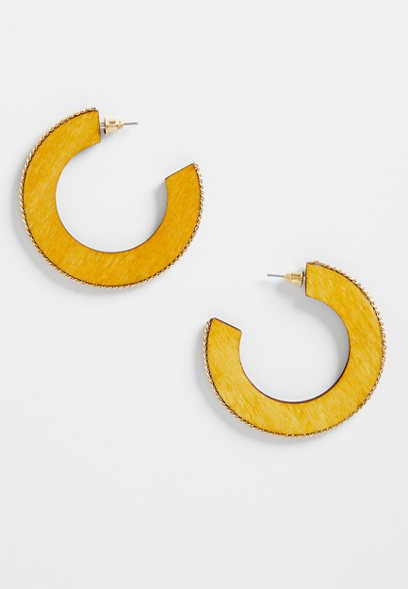 Mustard Wood Hoop Earrings