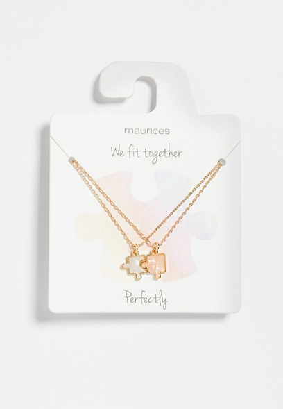 Dainty 2 Piece Puzzle Gold Necklace