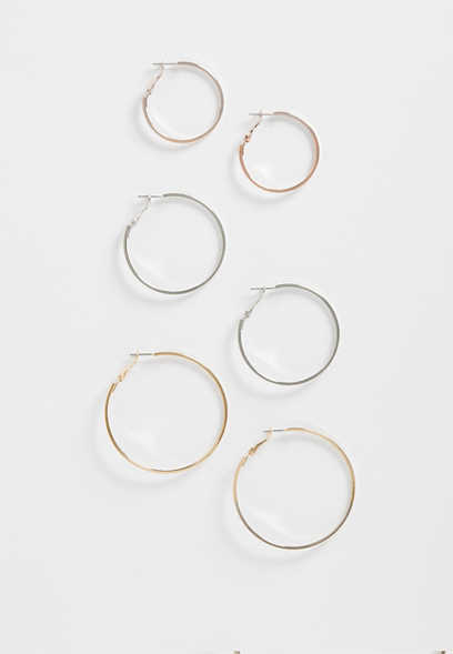 3 Piece Hoop Earring Set