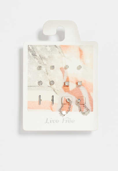 6 Pack Silver Live Free Earring Set