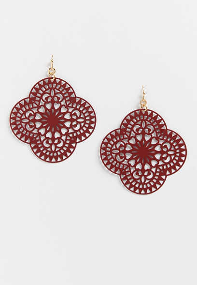 Burgundy Laser Cut Drop Earrings