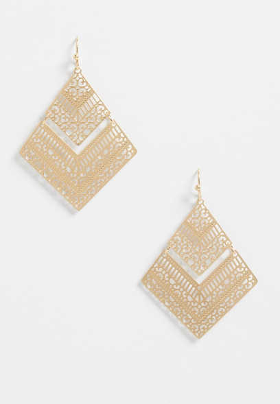 Gold Diamond Shape Laser Cut Drop Earrings