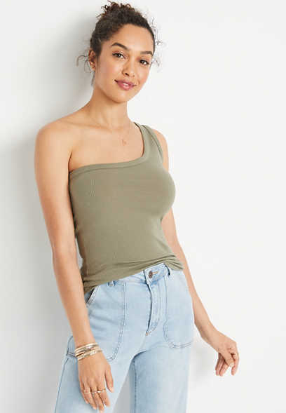 24/7 Solid One Shoulder Tank Top