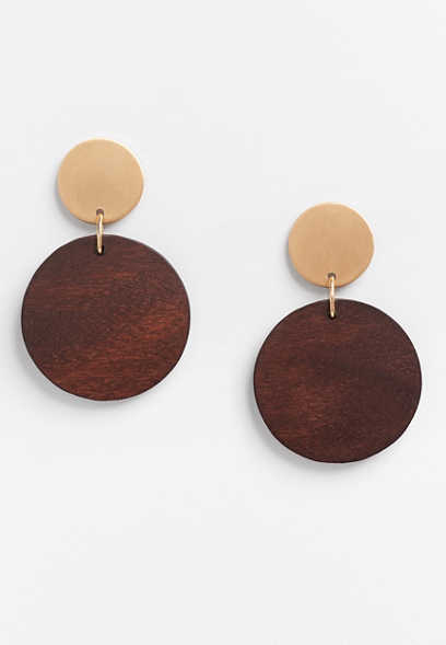 Brown Wood Drop Earrings