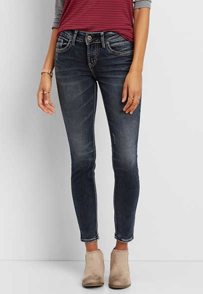 Silver Jeans Co.® Suki skinny jeans with distressing