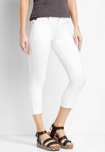 KanCan™ White Cuffed Cropped Jean