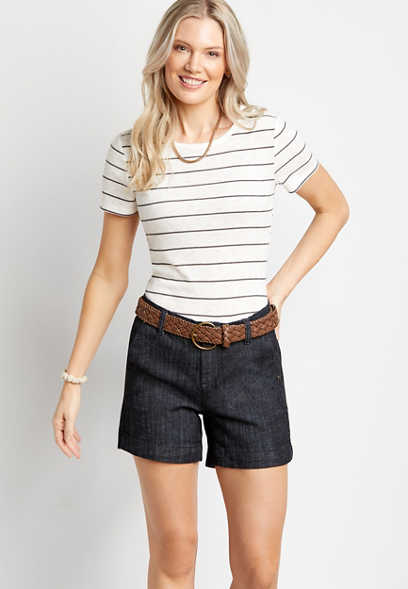 Dark Wash Belted 5in Short by Blue Planet
