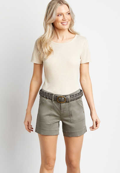 Light Olive Utility Pocket Belted 5in Short