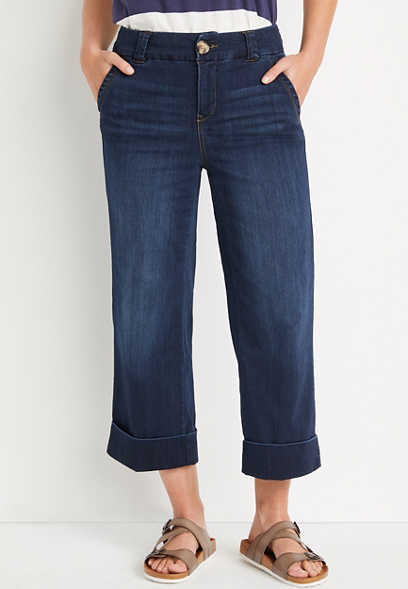 ONE5ONE™ High Rise Dark Cuffed Wide Cropped Jean