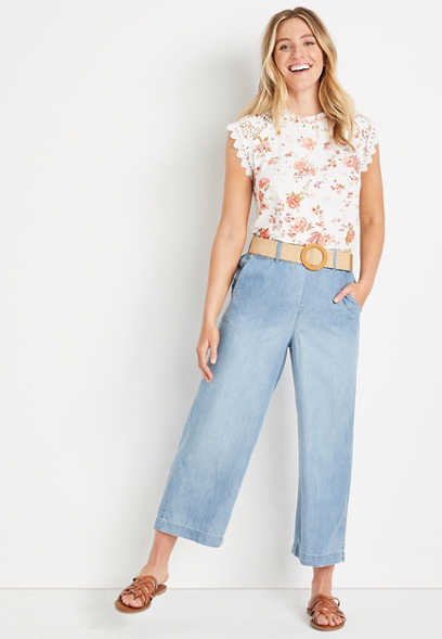 ONE5ONE™ High Rise Light Belted Wide Cropped Jean