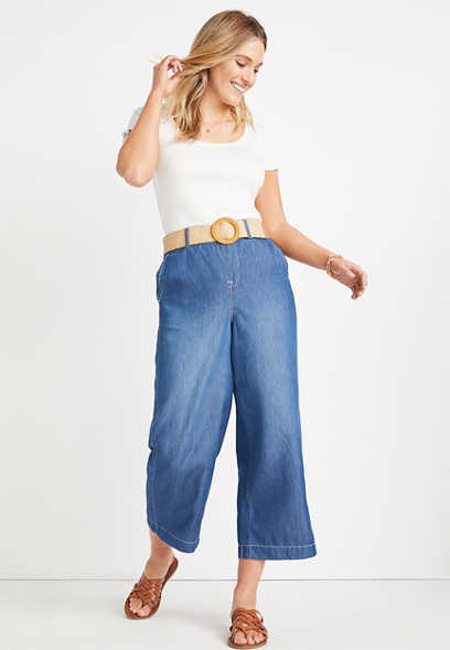 ONE5ONE™ High Rise Medium Belted Wide Leg Cropped Jean