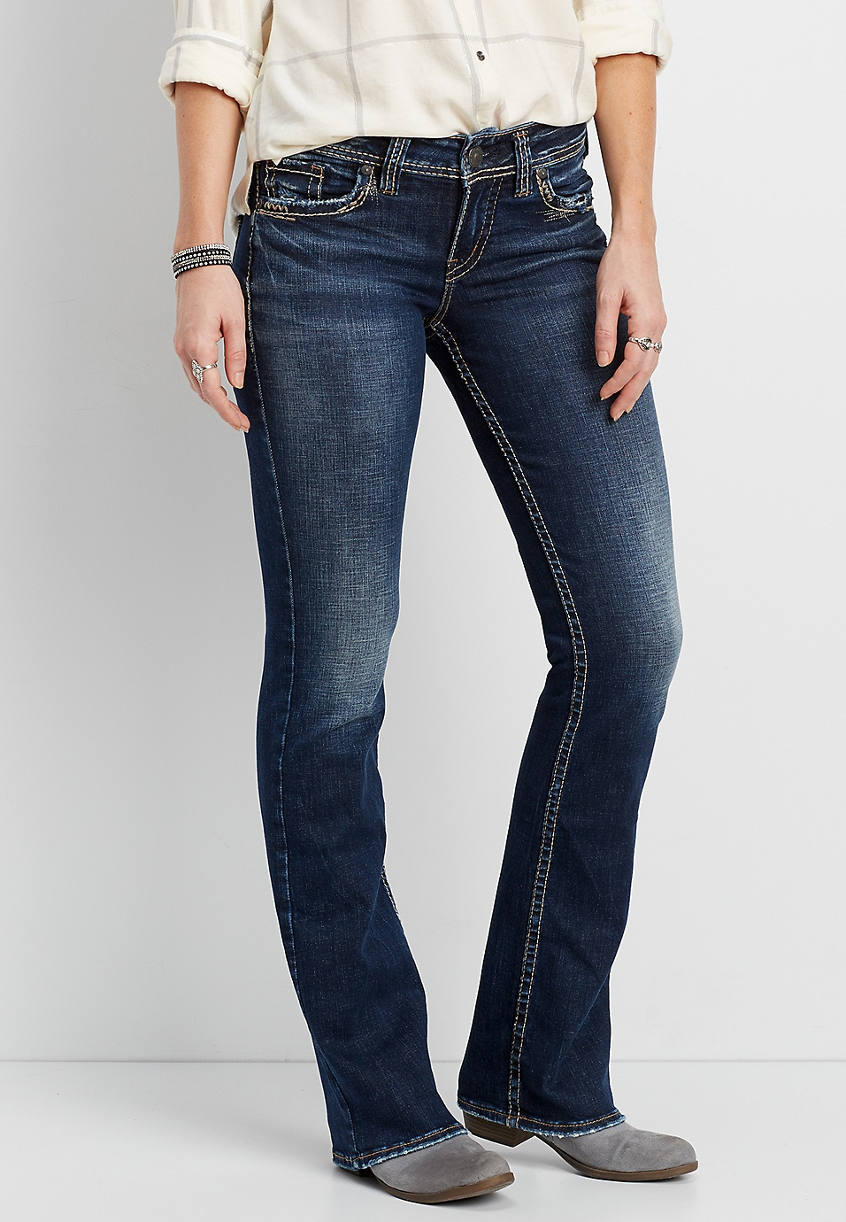 11c3913f Silver Jeans Co.® Suki slim boot jeans with destructed back flap pockets |  maurices