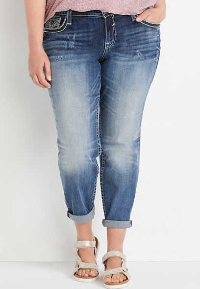 Plus Size Vigoss® Dark Wash Embellished Pocket Boyfriend Capri