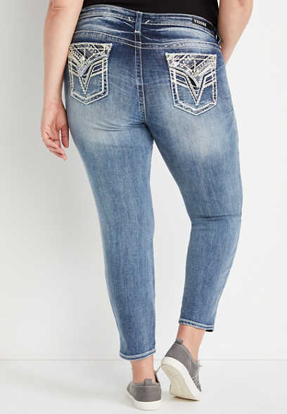 Plus Size Vigoss® Medium Wash Embellished Flap Pocket Skinny Jean