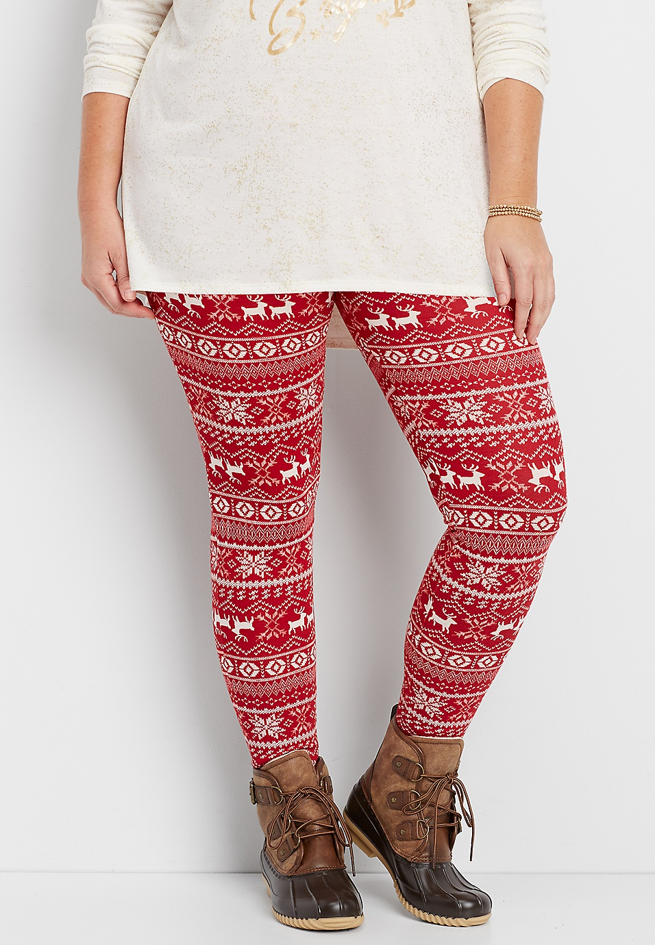 44991ae7822c plus size hacci legging in red reindeer print | maurices