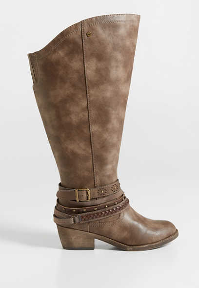 Lilah extra wide calf distressed faux leather boot