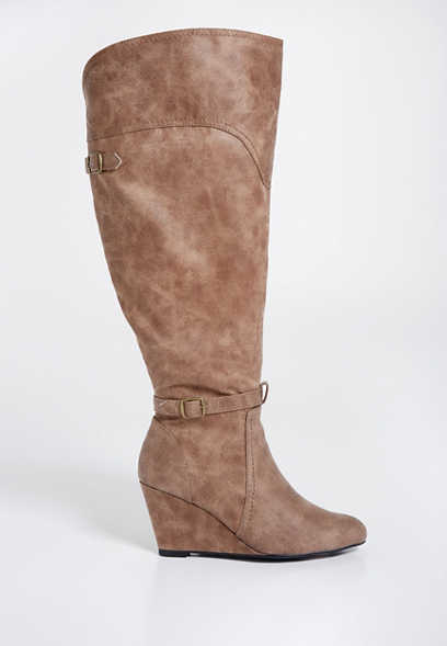 Luna wide calf distressed faux leather boot with wedge