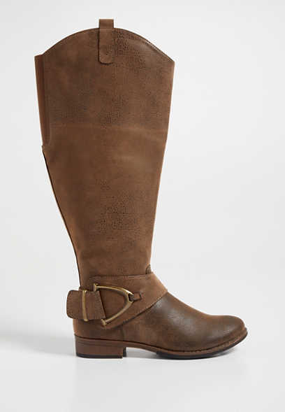 Laura faux suede wide calf tall boot with large buckle