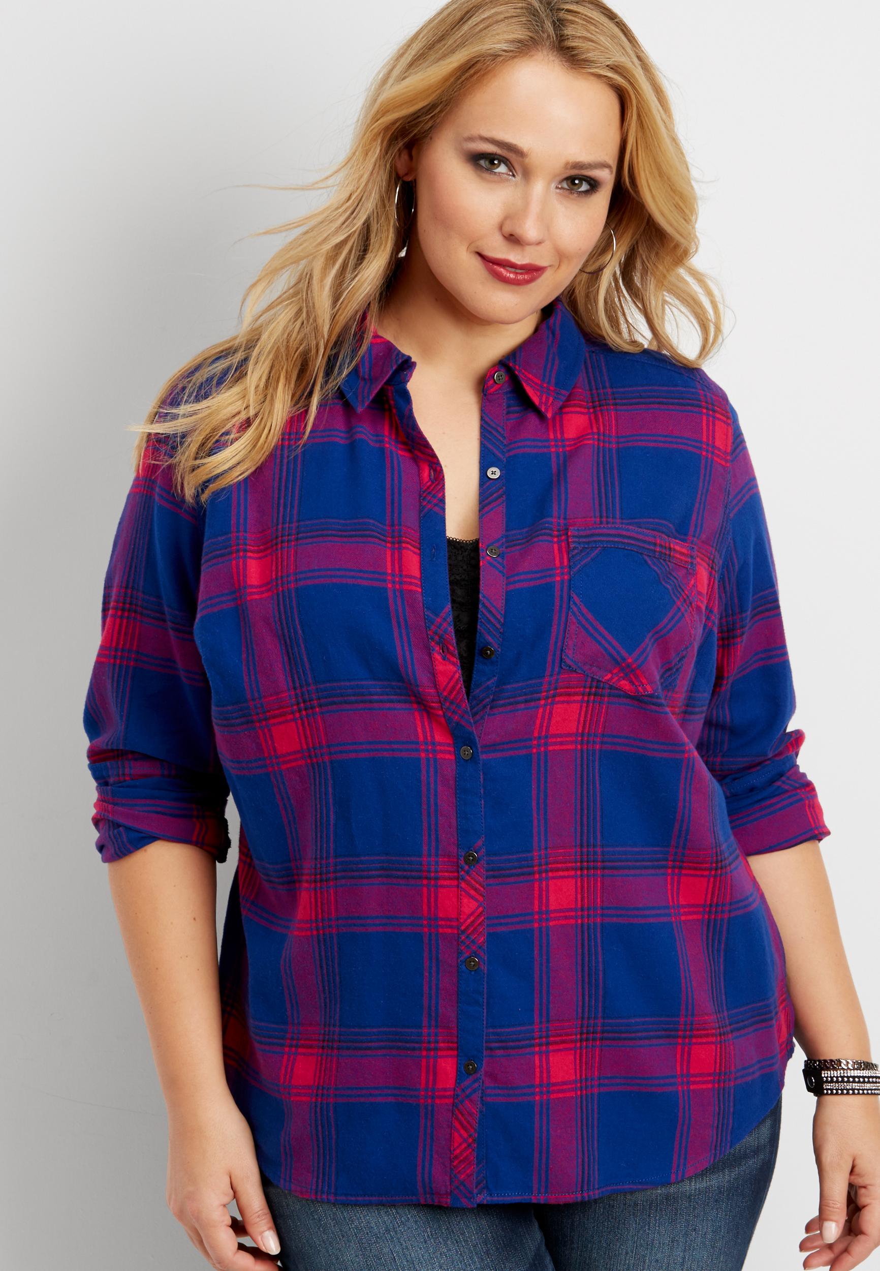 Plus Size - Plaid Button Down Shirt Maurices